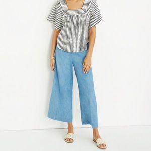 Madewell Huston Wide Leg Crop Chambray Pants